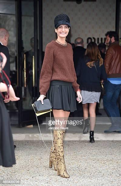 Giovanna Battaglia attends the Miu Miu show as part of Paris Fashion Week Fall Winter 2015/2016 on March 11 2015 in Paris France