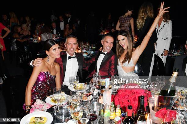 Giovanna Battaglia Dean Caten Dan Caten and Alessandra Ambrosio attend amfAR Gala Milano on September 21 2017 in Milan Italy
