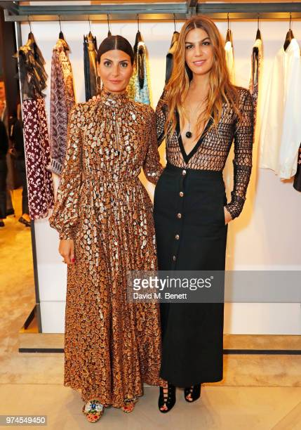 Giovanna Battaglia Engelbert and Bianca Brandolini d'Adda attend the Giambattista Valli London store opening on Sloane Street on June 14 2018 in...