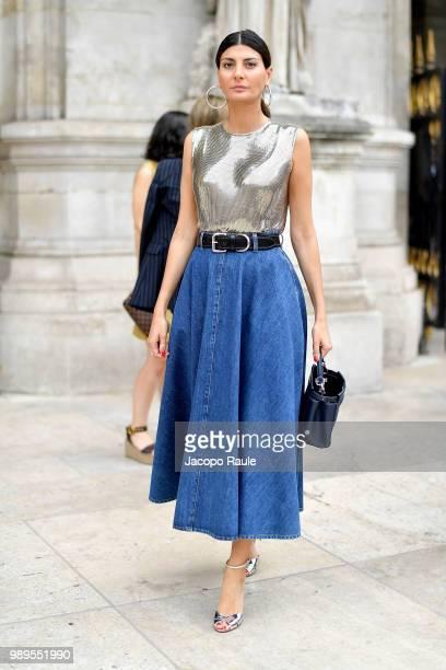 Giovanna Battaglia Engelbert is seen at the Schiaparelli Haute Couture Fall Winter 2018/2019 Show on July 2 2018 in Paris France