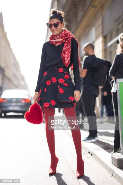 Giovanna Battaglia Engelbert is seen attending Acne Studios during Paris Fashion Week wearing Acne Studios on September 30 2017 in Paris France