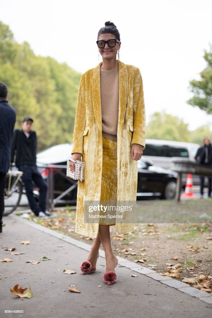 Giovanna Battaglia Engelbert is seen attending Cline during Paris Fashion Week wearing Cline on October 1, 2017 in Paris, France.