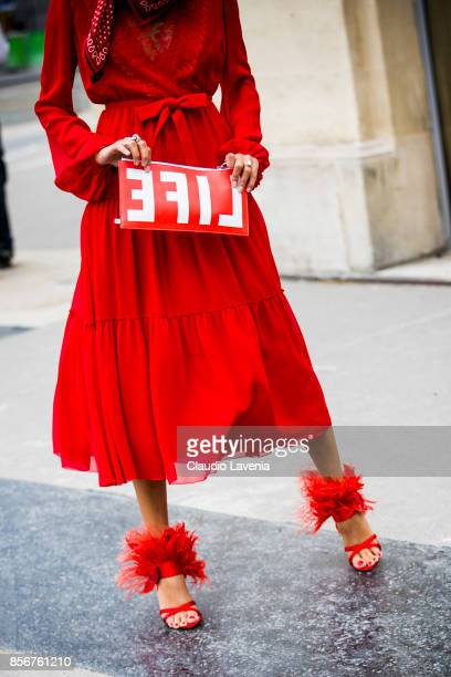 Giovanna Battaglia Engelbert shoes and bag details are seen before the Giambattista Valli show during Paris Fashion Week Womenswear SS18 on October 2...