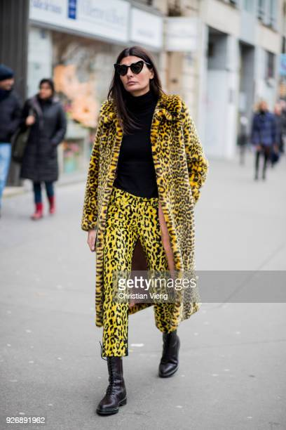 Giovanna Battaglia Engelbert wearing leopard print coat and pants is seen outside Altuzarra during Paris Fashion Week Womenswear Fall/Winter...