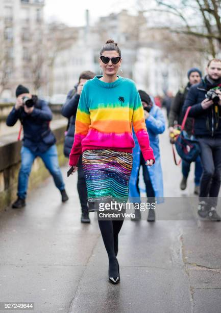 Giovanna Battaglia Engelbert wearing striped pullover with palm print is seen outside Valentino during Paris Fashion Week Womenswear Fall/Winter...