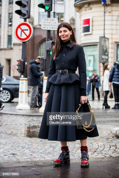 Giovanna Battaglia Engelbert with Junya Watanabe dress Fendi bag and Prada shoes is seen in the streets of Paris after the Valentino show during...