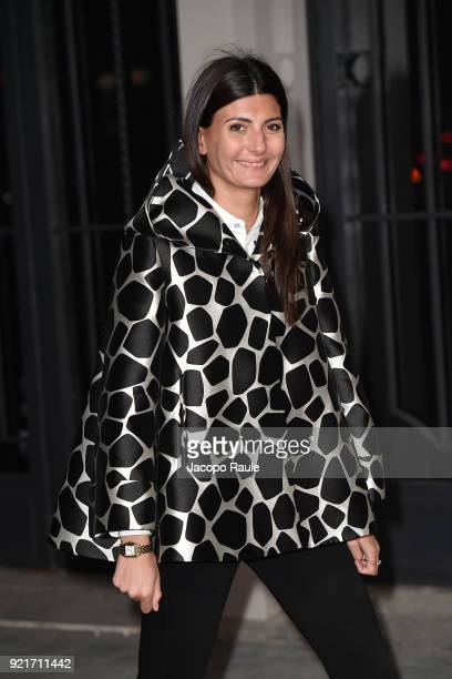 Giovanna Battaglia is seen at the Moncler Genius event during Milan Fashion Week Fall/Winter 2018/19 on February 20 2018 in Milan Italy