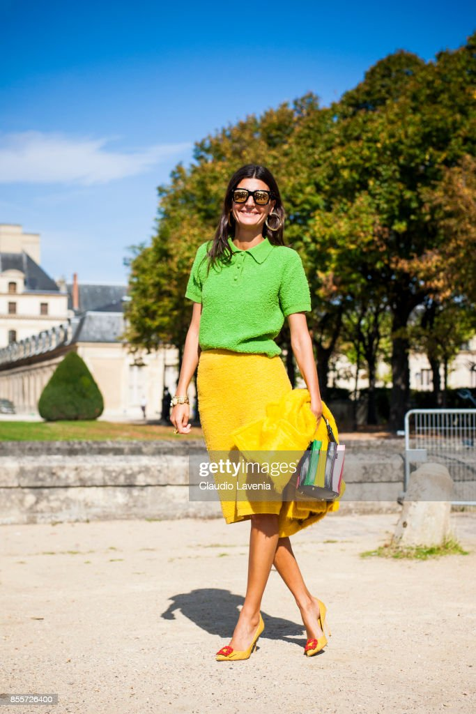 Giovanna Battaglia is seen before the Nina Ricci show at the Hotel National des Invalides during Paris Fashion Week Womenswear SS18 on September 29, 2017 in Paris, France.