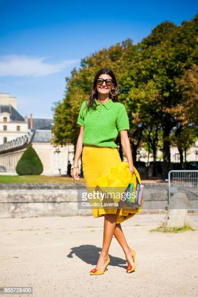 Giovanna Battaglia is seen before the Nina Ricci show at the Hotel National des Invalides during Paris Fashion Week Womenswear SS18 on September 29...