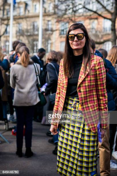 Giovanna Battaglia is seen in the streets of Paris before the Miu Miu show during Paris Fashion Week Womenswear Fall/Winter 2017/2018 on March 7 2017...