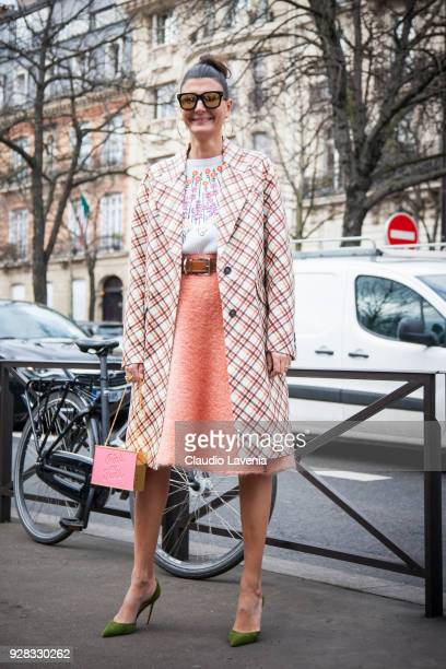 Giovanna Battaglia is seen in the streets of Paris before the Miu Miu show during Paris Fashion Week Womenswear Fall/Winter 2018/2019 on March 6 2018...