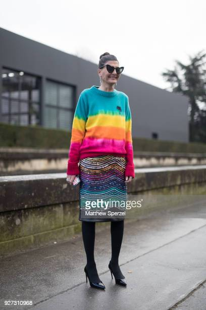 Giovanna Battaglia is seen on the street attending Valentino during Paris Women's Fashion Week A/W 2018 wearing a rainbow outfit on March 4 2018 in...