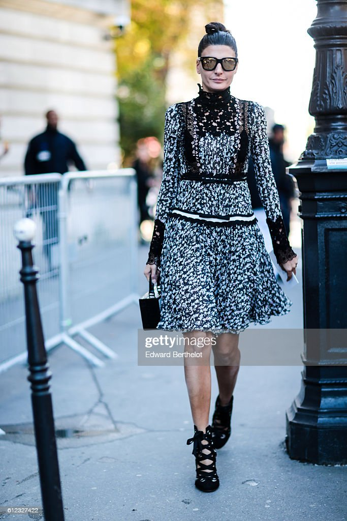Giovanna Battaglia is seen outside of the Giambattista Valli show during Paris Fashion Week Spring Summer 2017, at Grand Palais, on October 3, 2016 in Paris, France.
