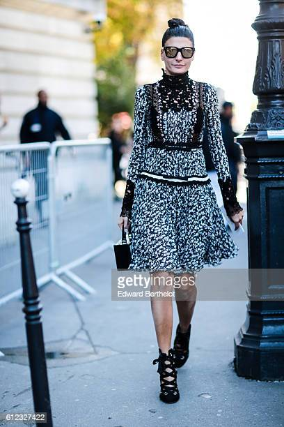 Giovanna Battaglia is seen outside of the Giambattista Valli show during Paris Fashion Week Spring Summer 2017, at Grand Palais, on October 3, 2016...