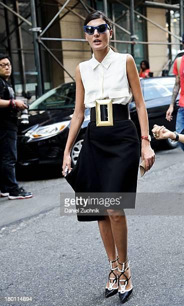 Giovanna Battaglia is seen outside the DKNY show on September 8 2013 in New York City