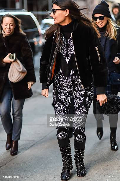 Giovanna Battaglia is seen outside the Jonathan Simkhai show wearing a black and white Alaia outfit during New York Fashion Week: Women's Fall/Winter...