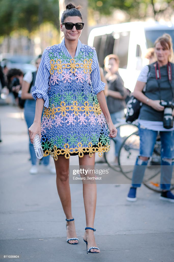 Giovanna Battaglia is seen, outside the Rochas show, at the Palais de Tokyo, during Paris Fashion Week Spring Summer 2017, on September 28, 2016 in Paris, France.