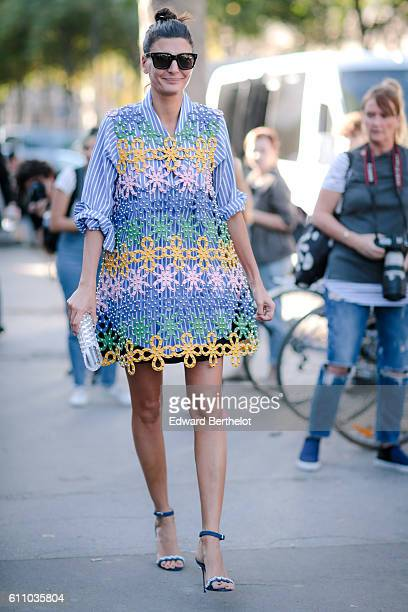 Giovanna Battaglia is seen, outside the Rochas show, at the Palais de Tokyo, during Paris Fashion Week Spring Summer 2017, on September 28, 2016 in...