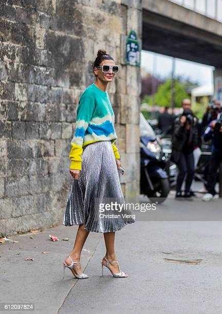Giovanna Battaglia outside Balenciaga on October 2 2016 in Paris France