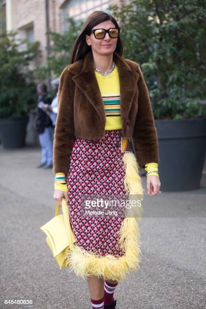 Giovanna Battaglia outside Missoni during Milan Fashion Week Fall/Winter 2017/18 on February 25 2017 in Milan Italy