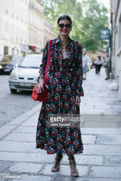 Giovanna Battaglia poses wearing Valentino after the Valentino Show during Paris Fashion Week - Haute Couture Fall/Winter 2019/2020 on July 03, 2019...
