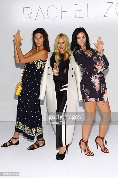 Giovanna Battaglia Rachel Zoe and Leigh Lezark attend the Rachel Zoe Presentation Spring 2016 during New York Fashion Week The Shows at The Space...