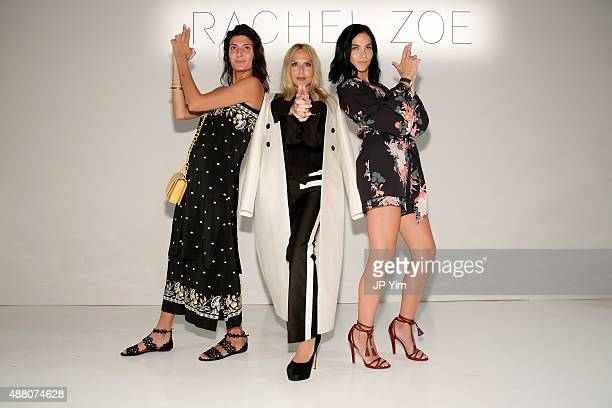 Giovanna Battaglia Rachel Zoe and Leigh Lezark pose on the runway at Rachel Zoe Spring 2016 during New York Fashion Week The Shows at The Space...