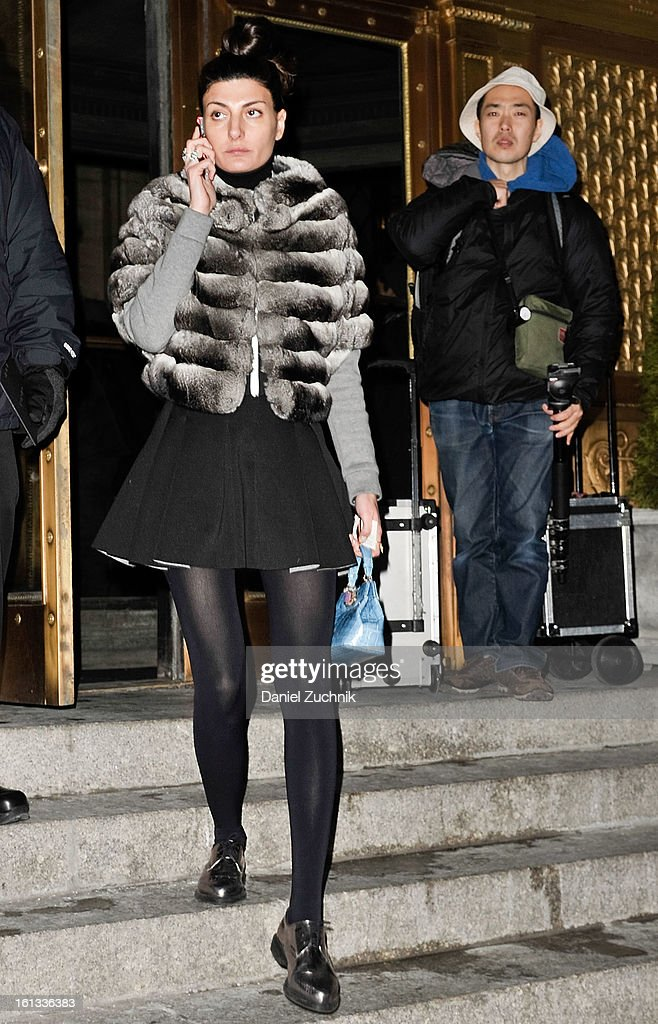 Giovanna Battaglia seen leaving the Alexander Wang show on February 9, 2013 in New York City.