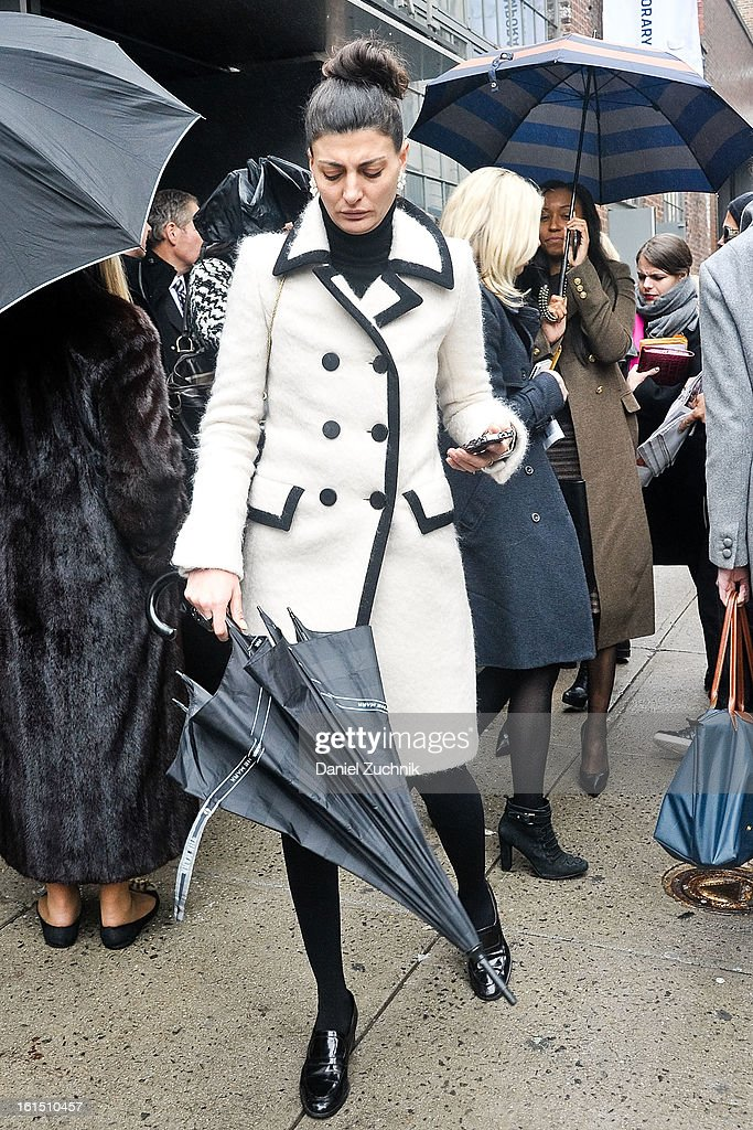 Giovanna Battaglia seen outside the Donna Karan show on February 11, 2013 in New York City.