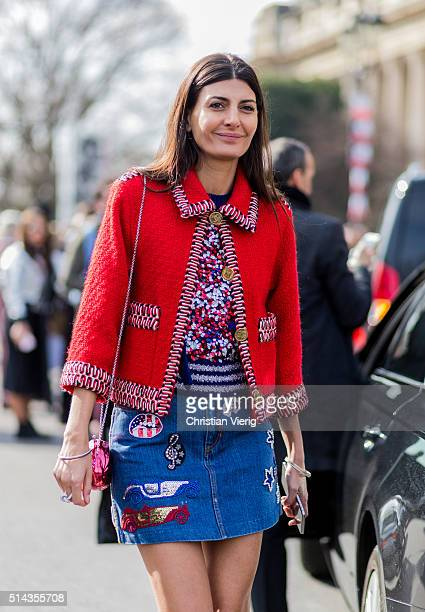 Giovanna Battaglia wearing a red Chanel blazer and denim skirt and outside Chanel during the Paris Fashion Week Womenswear Fall/Winter 2016/2017 on...