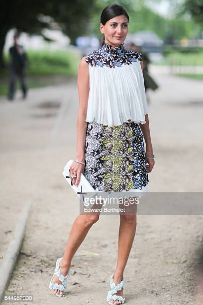 Giovanna Battaglio is seen after the Giambattista Valli show during Paris Fashion Week Haute Couture F/W 2016/2017 on July 4 2016 in Paris France