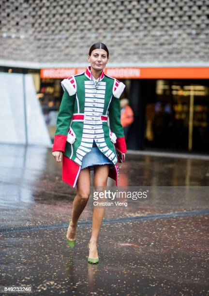 Giovanna Engelbert outside Christopher Kane during London Fashion Week September 2017 on September 18, 2017 in London, England.