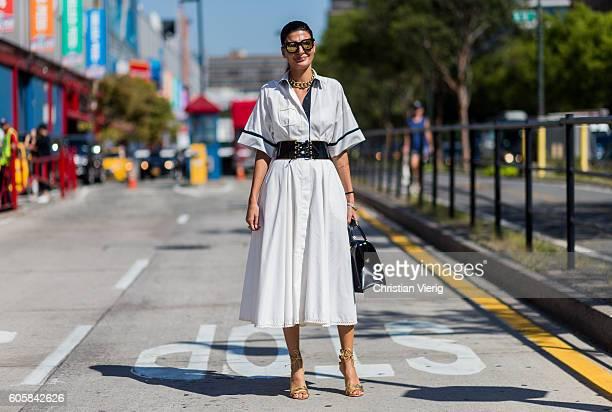 Giovanna Engelbert outside Delpozo on September 14 2016 in New York City