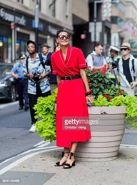 Giovanna Engelbert wearing a red dress outside Victoria Beckham on September 11 2016 in New York City
