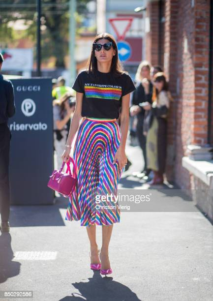 Giovanna Engelbert wearing a tshirt with the print 'my favorite colour is rainbow flag' midi skirt is seen outside Gucci during Milan Fashion Week...