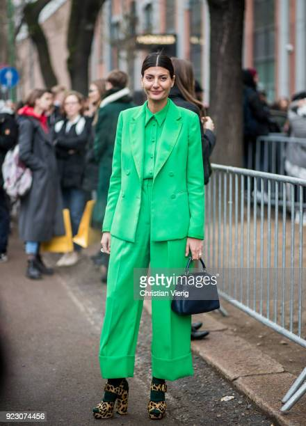 Giovanna Engelbert wearing green suit seen outside Fendi during Milan Fashion Week Fall/Winter 2018/19 on February 22 2018 in Milan Italy