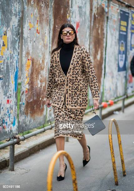 Giovanna Engelbert wearing jacket cardigan with leo print, skirt with leo print seen outside Alberta Ferretti during Milan Fashion Week Fall/Winter...