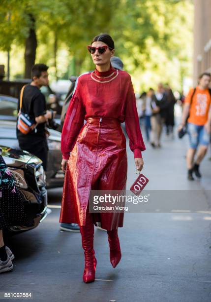 Giovanna Engelbert wearing red blouse, red skirt, red overknees is seen outside Fendi during Milan Fashion Week Spring/Summer 2018 on September 21,...