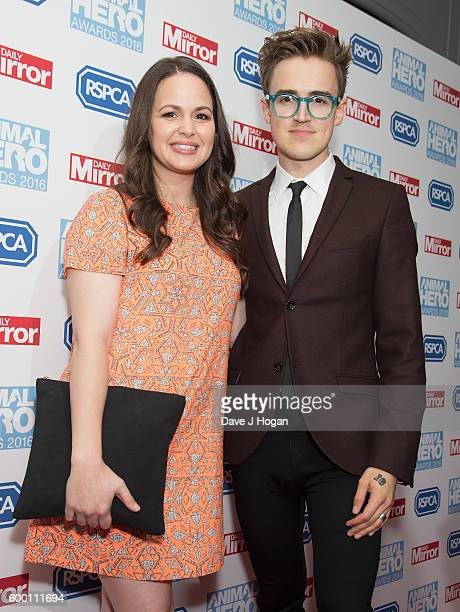 Giovanna Falcone and Tom Fletcher arrive for Daily Mirror and RSPCA Animal Hero Awards at Grosvenor House on September 7 2016 in London England