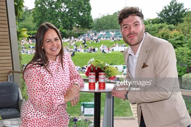 Giovanna Fletcher and Jordan North enjoy PIMM'S No 1 hospitality at The Championships, Wimbledon on July 1, 2021 in London, England.