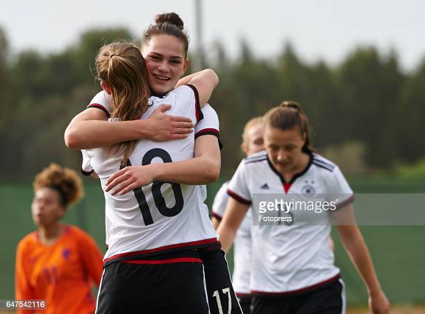 Giovanna Hoffmann of Germany celebrates with Klara Buhl of Germany after scoring a goal during the international friendly match between Germany Women...