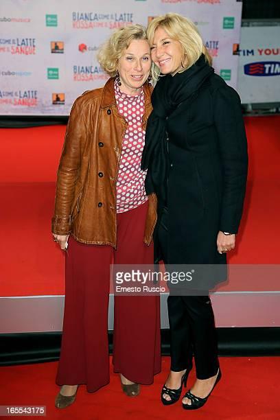 """Giovanna Melandri and Myrta Merlino attend the """"Bianca Come Il Latte, Rossa Come Il Sangue"""" premiere at Space Moderno on April 4, 2013 in Rome, Italy."""
