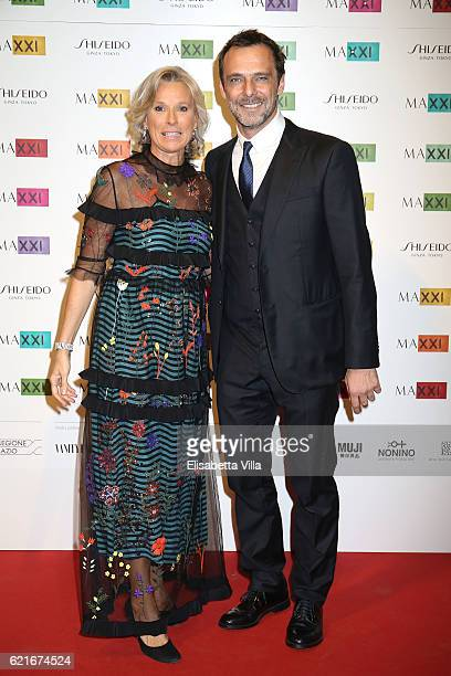 Giovanna Melandri President of Fondazione MAXXI and Alessandro Preziosi attend a photocall for the MAXXI Acquisition Gala Dinner 2016 at Maxxi Museum...