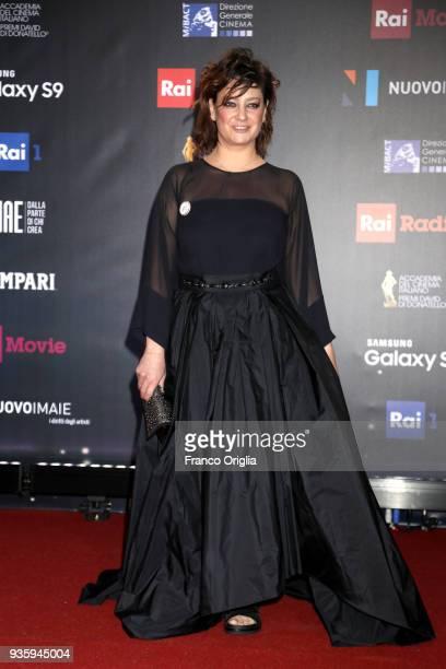 Giovanna Mezzogiorno walks a red carpet ahead of the 62nd David Di Donatello awards ceremony on March 21 2018 in Rome Italy