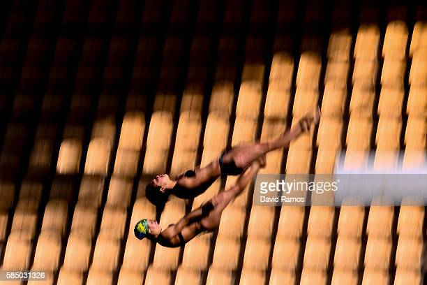 Giovanna Pedroso and Ingrid de Oliveira of Brazil practices on the Women's 10m Platform at the Maria Lenk Aquatics Centre in the Olympic Park on...