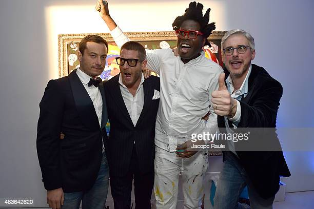 Giovanni Acconciagioco Lapo Elkann Bradley Theodore and Andrea Tessitore attends ItaliaIndependent Boutique Opening After Party at the Sky Room at...