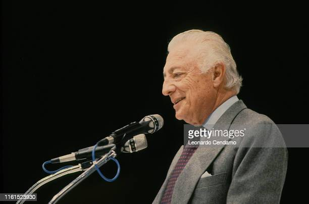Giovanni Agnelli called Gianni Industrial lawyer entrepreneur principal shareholder and leader of Fiat group Torino Italy March 1988
