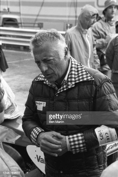 Giovanni Agnelli , head of the family which owns the Fiat Group, talking with race car driver Mario Andretti during a break in Grand Prix racing, May...