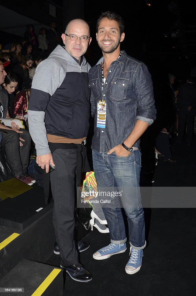 Giovanni Albertoni and Hermes Galvao attends the Agua de Coco show during Sao Paulo Fashion Week Summer 2013/2014 on March 20, 2013 in Sao Paulo, Brazil.