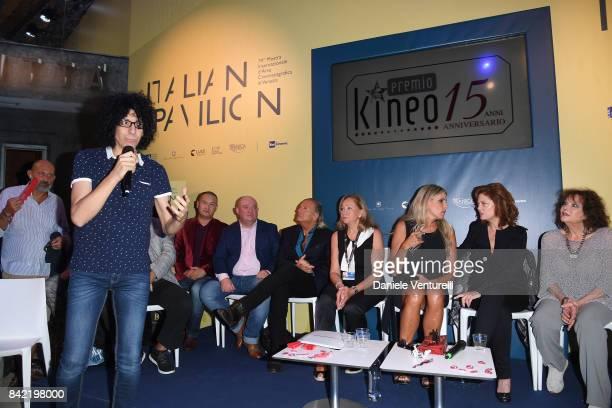Giovanni Allevi Armand Assante Tiziana Rocca Susan Sarandon and Claudia Cardinale attend the Kineo Diamanti Awards press conference during the 74th...
